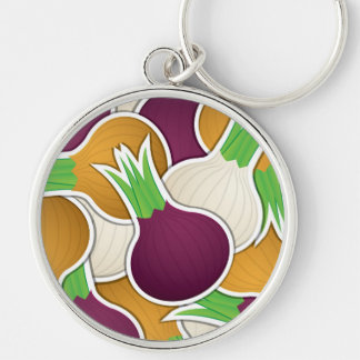 Funky mixed onions Silver-Colored round keychain
