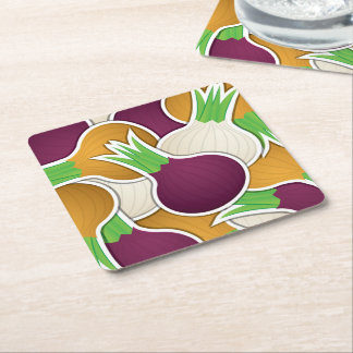 Funky mixed onions square paper coaster