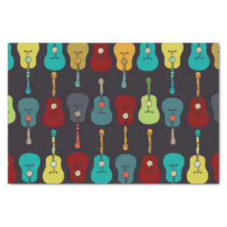 Funky Mod Music Acoustic Guitars Tissue Paper