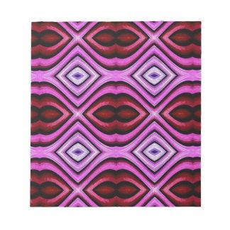 Funky modern Artistic Valentine Lips Pattern Notepad