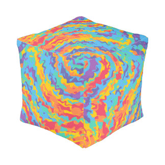 Funky modern colorful rainbow cube pouf