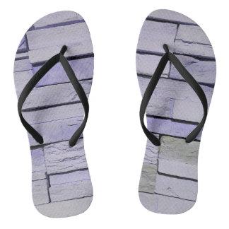Funky Modern Lavender Stacked Bricks Flip Flops