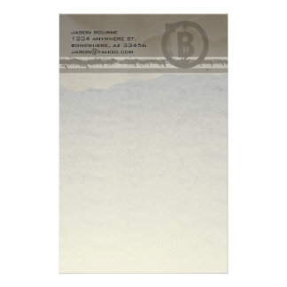 Funky Monogram Gray Grunge Stationery