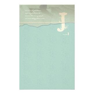 Funky Monogram Stationery Rose Petal Aqua Blue
