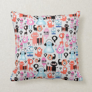 Funky Monsters Throw Pillow