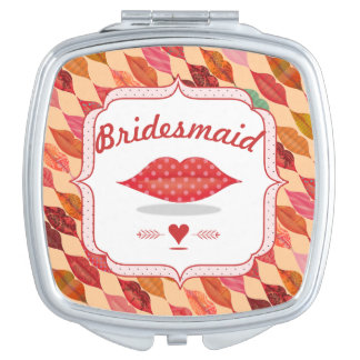 Funky Mrs. Lips Bridesmaid Mirrored Compact Compact Mirrors