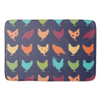 Funky Multi-colored Chicken Pattern Bath Mat