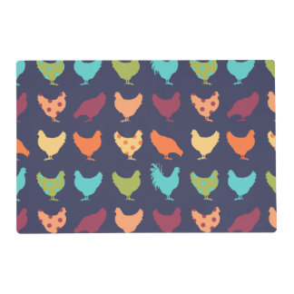 Funky Multi-colored Chicken Pattern Laminated Placemat