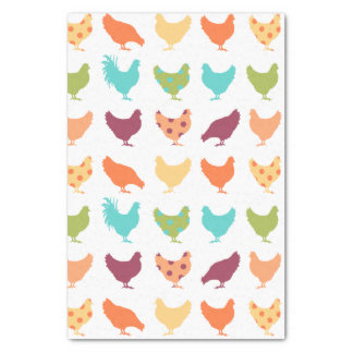 Funky Multi-colored Chicken Pattern Tissue Paper