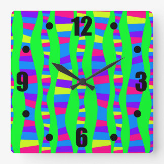 Funky Neon Colors Retro Modern Pattern Psychedelic Square Wall Clock