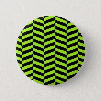 Funky Neon Green and Black Zig Zags Chevron 2 Inch Round Button