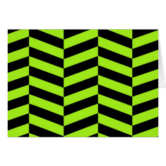 Funky Neon Green and Black Zig Zags Chevron Note Card