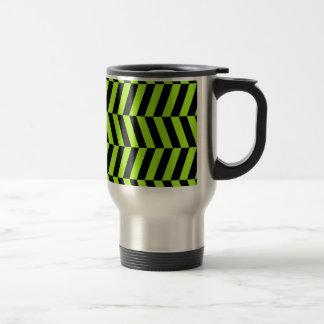 Funky Neon Green and Black Zig Zags Chevron Travel Mug