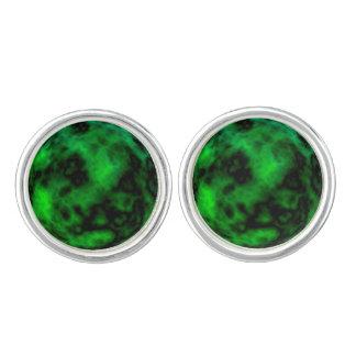Funky Neon Green Emerald Halloween Abstract Cufflinks