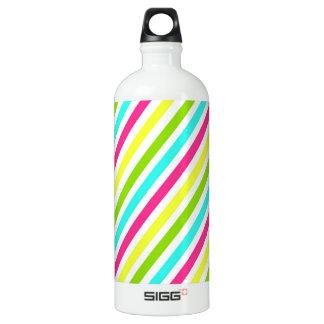 Funky Neon Pink Blue Green Yellow Stripes Water Bottle