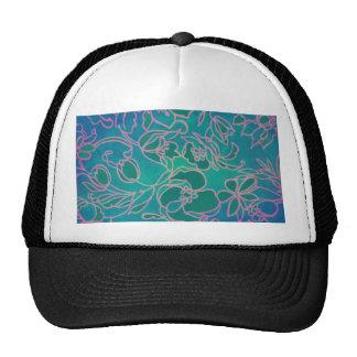 Funky Neon Pink Floral Vintage Blue Flower Pattern Trucker Hat