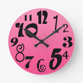 Funky numbers - hot pink gradient shades of pink round clock