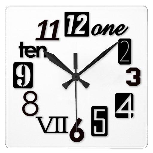 Funky Numbra Square Wall Clocks Zazzle