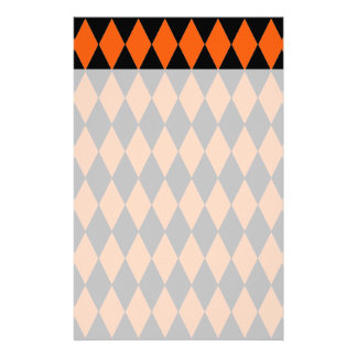 Funky Orange and Black Diamond Harlequin Pattern Stationery
