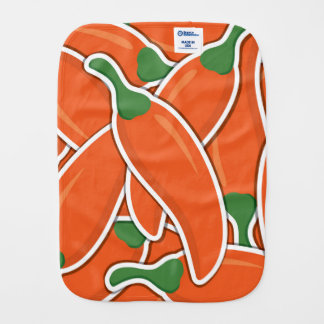 Funky orange chilli peppers baby burp cloth