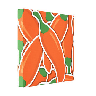 Funky orange chilli peppers canvas print