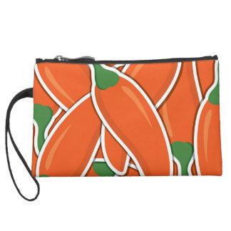 Funky orange chilli peppers wristlet purses