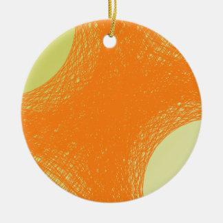 funky orange color round ceramic ornament