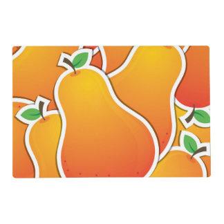 Funky orange pear laminated place mat