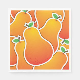 Funky orange pear paper napkins