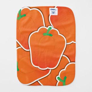 Funky orange pepper burp cloths