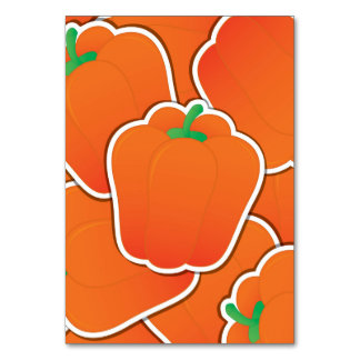 Funky orange pepper table card