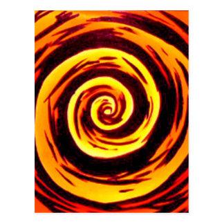 Funky Orange Red Hypnotic Swirl Art Postcard