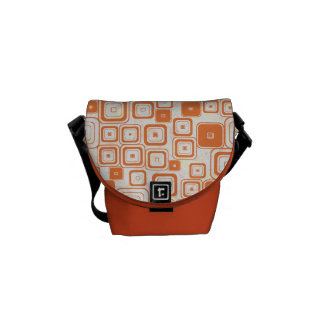 Funky Orange Retro Squares Messenger Bag