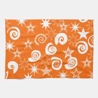 Funky Orange Stars and Swirls Fun Pattern Gifts Towel