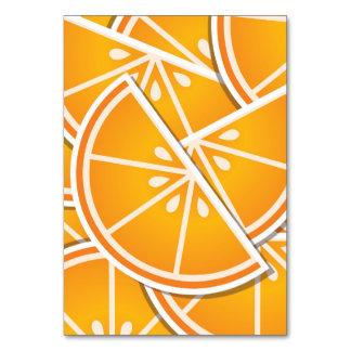Funky orange wedges table card