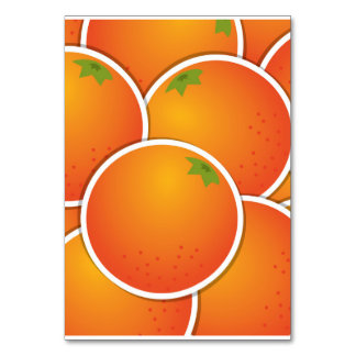 Funky oranges table cards