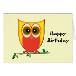 Funky Owl Birthday Greeting Card