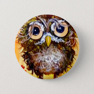 Funky owl girl 2 inch round button