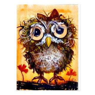 Funky owl girl postcard
