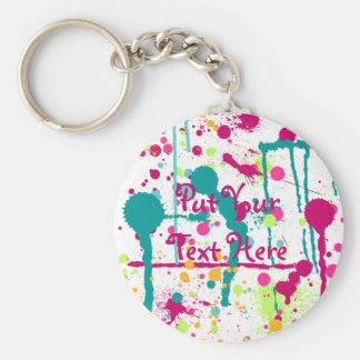 Funky Paint Splatters Basic Round Button Keychain