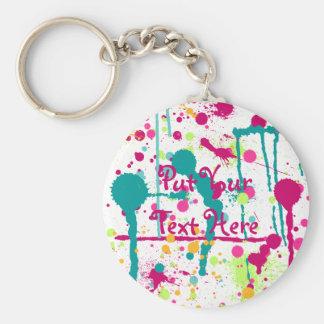 Funky Paint Splatters Keychain