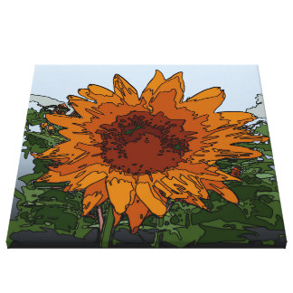 funky painting sunflower canvas print