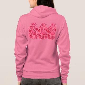 Funky Paisley Pink Flamingo Pattern Hoodie