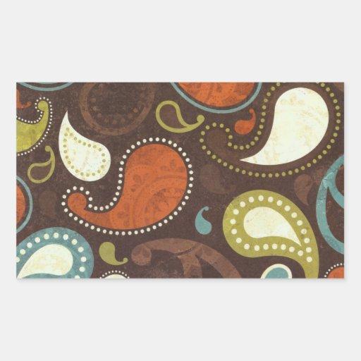 Funky Paisley Texture Rectangular Sticker