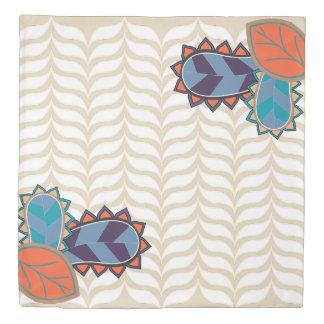 Funky Paisleys & White Curvy Chevrons Duvet Cover