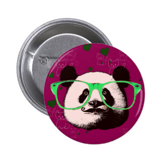 Funky Panda pattern glasses moustache 2 Inch Round Button