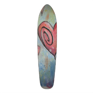Funky Pastel Hearts Skate Deck