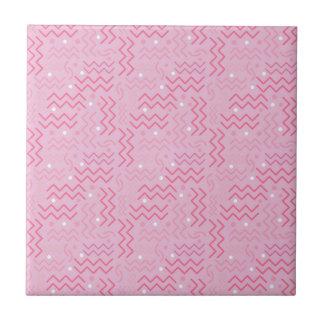 Funky Pastel Pink Memphis Design Ceramic Tiles