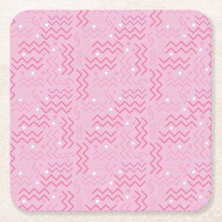 Funky Pastel Pink Memphis Design Square Paper Coaster
