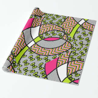 Funky Pattern Neon Bows, Polka Dots, and Zigzag Wrapping Paper